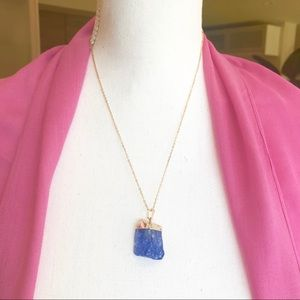 Jewelry - Blue Crystal Quartz gold dipped Pendant Necklace